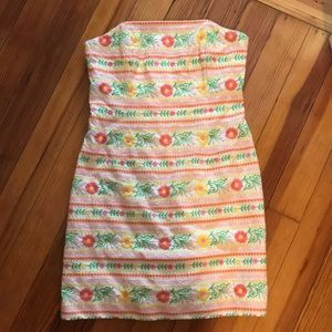 Lily Pulitzer Strapless Embroidered Dress
